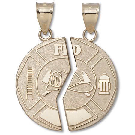 10kt Yellow Gold 1in Firefighter Mizpah Coin Pendant