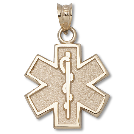 10kt Yellow Gold 5/8in Star of Life Charm