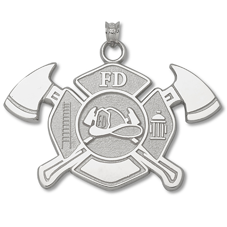 Sterling Silver 1in Fire Department Maltese Cross Axes Pendant