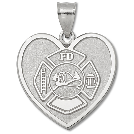 Sterling Silver 1in Fire Dept Maltese Cross Heart Pendant
