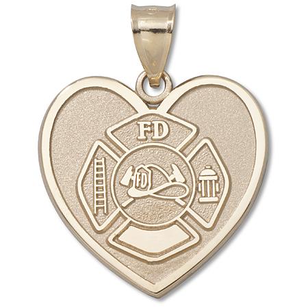 14kt Yellow Gold 1in Maltese Cross Fire Dept Heart Pendant