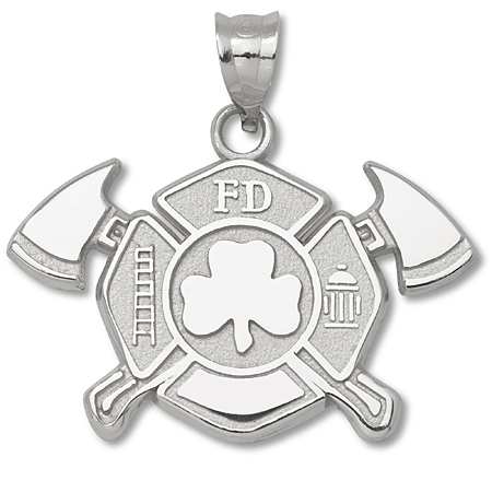 Sterling Silver 1in Fire Dept Maltese Cross Shamrock Pendant