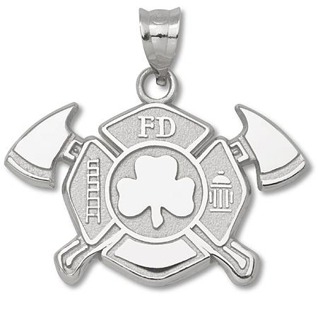 Sterling Silver 1in Fire Dept Maltese Cross Shamrock Pendant