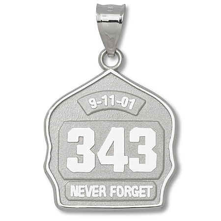 Sterling Silver 1in 343 Never Forget Fire Helmet Pendant