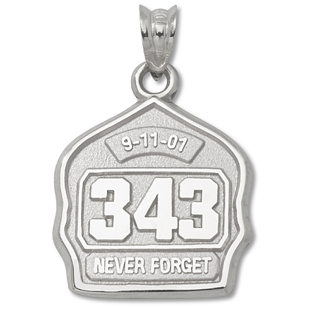 Sterling Silver 5/8in 9-11 Never Forget Badge Charm