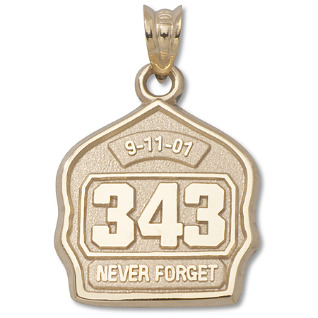 14kt Yellow Gold 5/8in 9-11 Never Forget Badge Charm