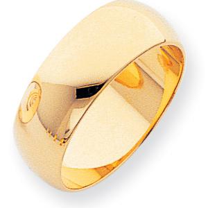 14kt Yellow Gold 8mm Half-Round Featherweight Wedding Band