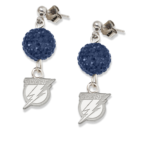 Sterling Silver Tampa Bay Lightning Crystal Ovation Earrings