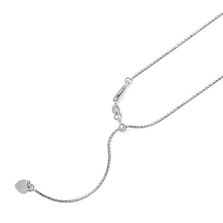 14kt White Gold Adjustable Spiral Snake Chain