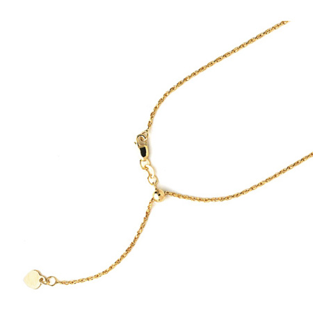 14kt Yellow Gold 1.2mm Adjustable Rope Chain
