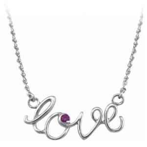 Sterling Silver Love Script Necklace