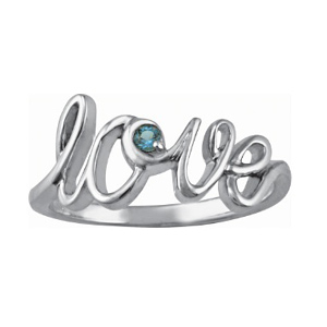 Sterling Silver Love Script Ring