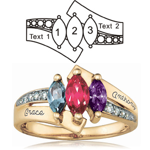 Gold-plated Sterling Silver Majestic Mother's Ring