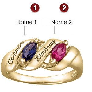 Melodic Marquis 14kt Yellow Gold Mother's Ring