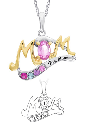 Sterling Silver and 10kt Gold MOM Necklace