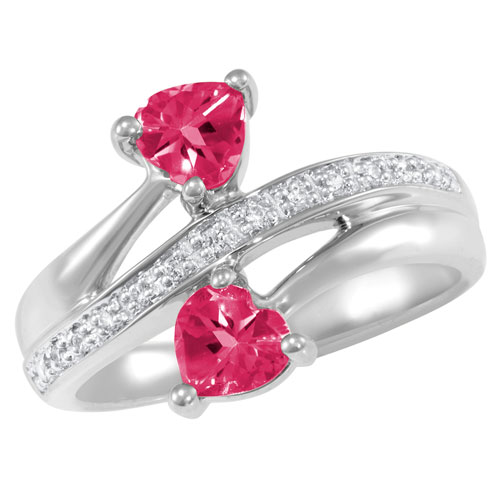 Sterling Silver Doting Promise Ring with Simulated Ruby