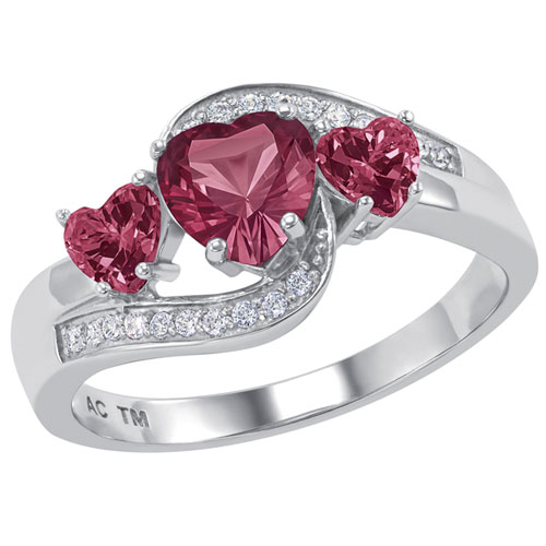 Sterling Silver Folklore Promise Ring with Simulated Ruby