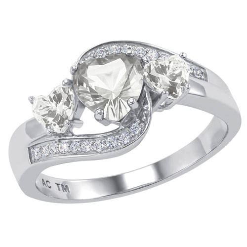 Sterling Silver Folklore Promise Ring with White Spinel