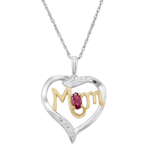 Sterling Silver Mom's Devotion Necklace with Simulated Ruby