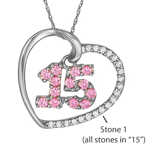 10kt White Gold Quince Necklace with Simulated Stones