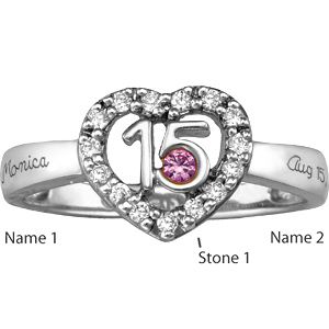 Quinceanera Ring with Custom Stones