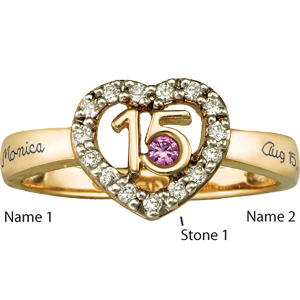 14kt Yellow Gold Quince Ring Simulated Stones