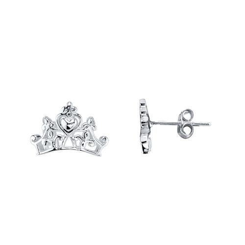 Sterling Silver Cinderella Crown Earrings