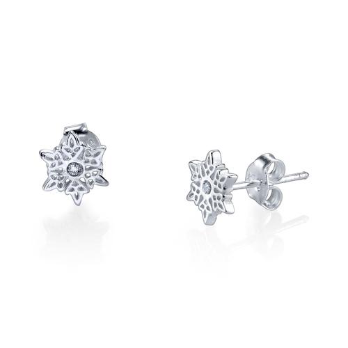 Sterling Silver Disney Frozen Snowflake Earrings