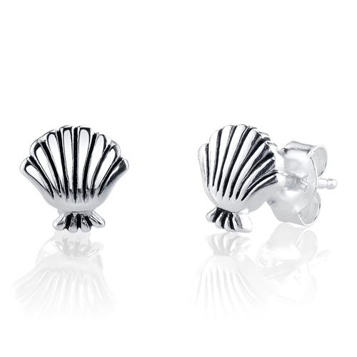 Sterling Silver Disney Little Mermaid Sea Shell Earrings