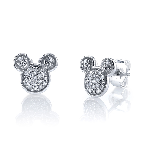 Sterling Silver 1/10 ct tw Diamond Mickey Mouse Post Earrings