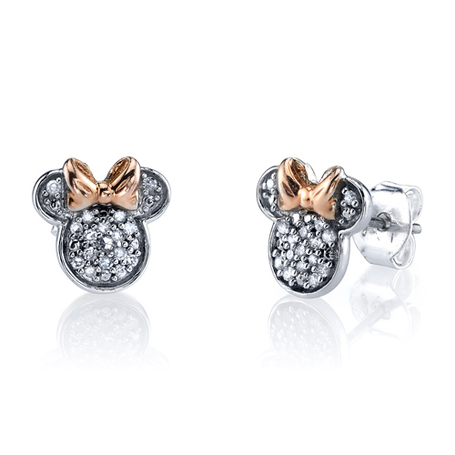 Two Tone Pink Gold Sterling Silver 1/10 ct tw Diamond Minnie Mouse Post Earrings