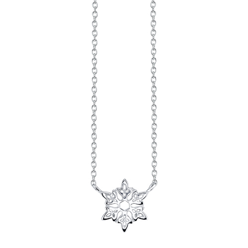 Sterling Silver Disney Frozen Snowflake with 18in Chain