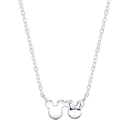 Sterling Silver Mickey & Minnie Mouse Silhouette Necklace with 18in Chain