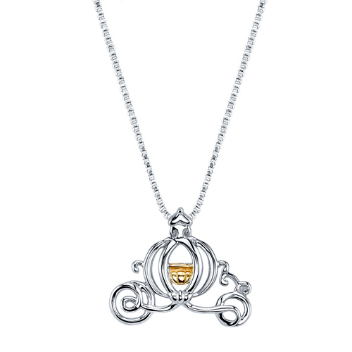 Sterling Silver 10kt Yellow Gold Cinderella Carriage Pendant with 18in Box Chain