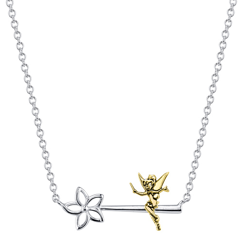 Sterling Silver 10kt Yellow Gold Tinker Bell Wand Necklace with 18in Chain