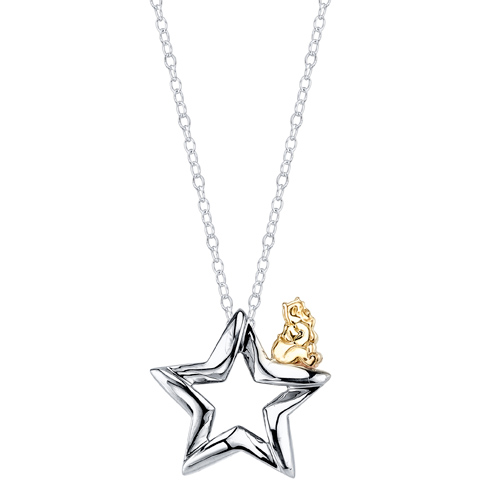 Sterling Silver 10kt Yellow Gold Winnie the Pooh Star Pendant with 18in Chain