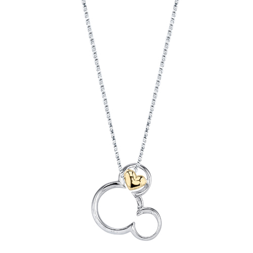 Sterling Silver 10kt Yellow Gold Mickey Mouse 18in Necklace