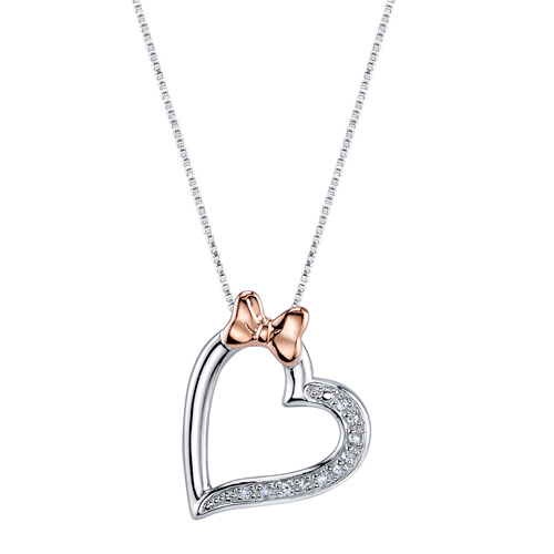 Disney Pink Gold Sterling Silver 1/20 ct Diamond Minnie Mouse Bow Heart Pendant with 18in Box Chain