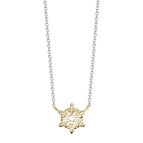 Disney Sterling Silver 10kt Yellow Gold Frozen Snowflake Necklace with 18in Chain