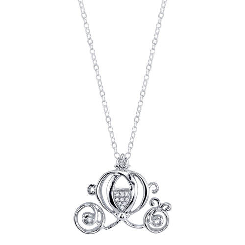 Sterling Silver Diamond Cinderella Carriage Pendant on 18in Chain