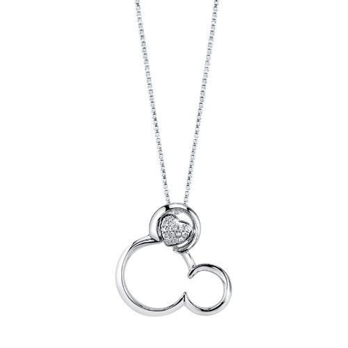 Sterling Silver 1/20 ctw Diamond Mickey Mouse Pendant with 18in Box Chain