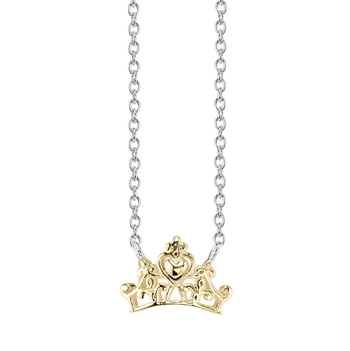 Disney Sterling Silver 10kt Yellow Gold Cinderella Crown Nekclace with 18in Chain
