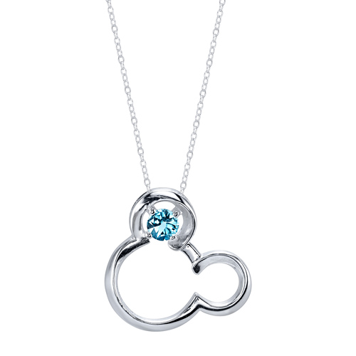 Sterling Silver Aquamarine March Birthstone Mickey Mouse Pendant with 18in Box Chain