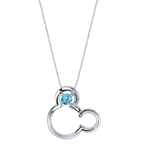 Sterling Silver Blue Topaz December Birthstone Mickey Mouse Pendant with 18in Box Chain