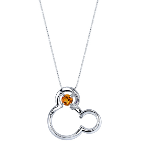 Sterling Silver Citrine November Birthstone Mickey Mouse Pendant with 18in Box Chain