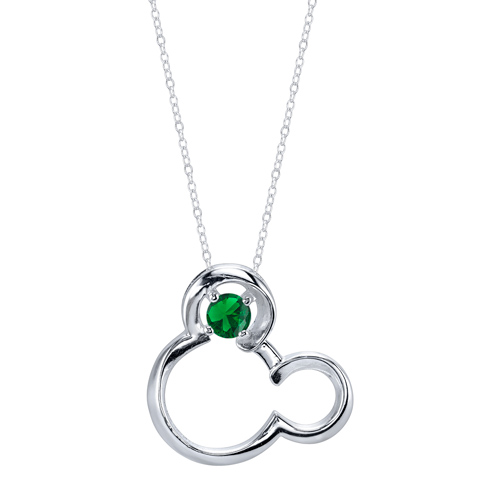 Sterling Silver Emerald May Birthstone Mickey Mouse Pendant with 18in Box Chain