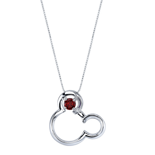 Sterling Silver Garnet Mickey Mouse Pendant on 18in Box Chain