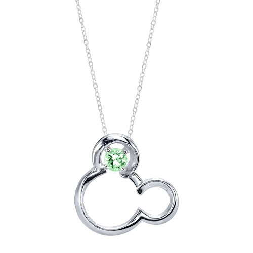 Sterling Silver Peridot August Birthstone Mickey Mouse Pendant with 18in Box Chain