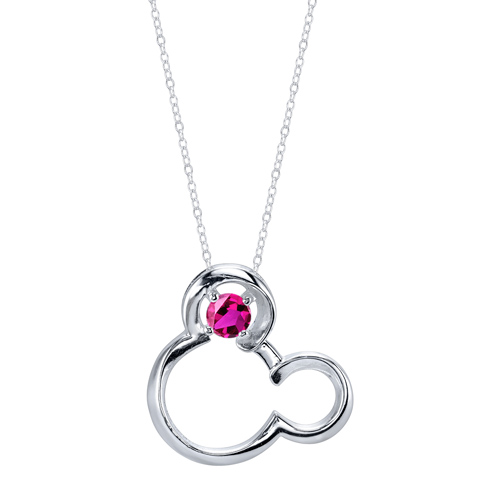 Sterling Silver Ruby July Birthstone Mickey Mouse Pendant with 18in Box Chain