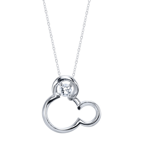Sterling Silver White Sapphire April Birthstone Mickey Mouse Pendant with 18in Box Chain